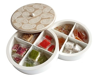 Mixed Nougat In Round Wooden Box
