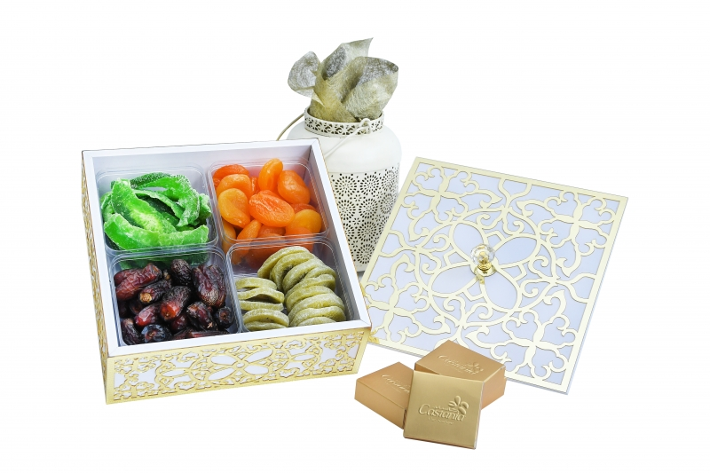 Assorted Dried Fruits in square wooden box